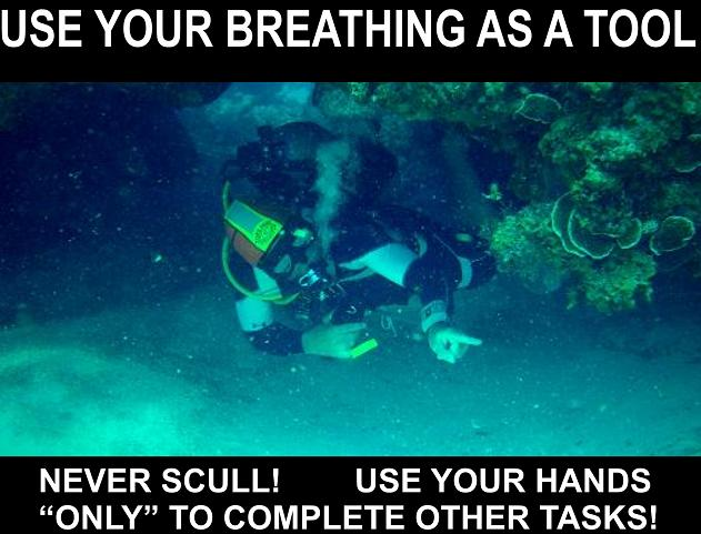 FINE TUNE BUOYANCY BY BREATHING